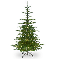 """National Tree Company 6 .5"""" Feel Real  Norwegian Spruce Hinged Tree with 650 Clear Lights"""