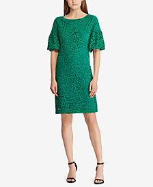 Lauren Ralph Lauren Shirred-Sleeve Lace Dress