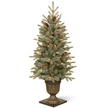National Tree 4 .5' Feel Real Frosted Arctic Spruce Entrance Tree with Cones in Dark Bronze Pot 100 Clear Lights