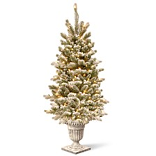 4' Feel Real® Snowy Sheffield Spruce Entrance Tree in Silver Brushed Urn with 70 Clear Lights