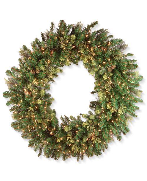 "National Tree Company 48"" Carolina Pine Wreath with 200 Clear Lights"