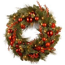 "30"" Decorative Collection Chritmas Red Mixed Wreaths with 100 Warm White Battery Operated LED's w/TimerT"