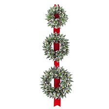 "18"", 22"", & 26"" Triple Wreath Door Décor Piece with 100 Warm White Battery Operated Twinkle LED lights"