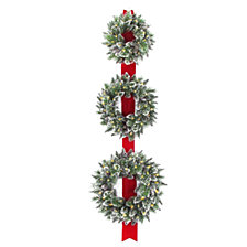 "National Tree Company 18"", 22"", & 26"" Triple Wreath Door Décor Piece with 100 Warm White Battery Operated Twinkle LED lights"