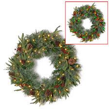 """National Tree 24"""" Feel Real(R) Colonial Wreath with 8 Pine Cones, 8 Red Berries and 50 Dual Color (R) Battery Operated LED Lights w/Timer-9 Functions"""