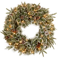"24"" ""Feel Real"" Liberty Pine Wreath with Snow and Pine Cones and 50 Clear Lights"