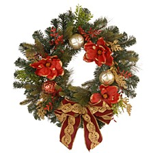 """24"""" Decorative Wreath with Ornaments & Bows"""