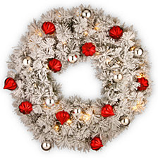 "National Tree Company 30"" Snowy Bristle Pine Wreaths with Red & Silver Ornaments & 70 Warm White Battery Operated LED Lights w/Timer"