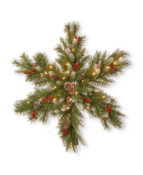 "National Tree Company 32"" Frosted Berry Snowflakes with 50 Warm White Battery Operated LED Lights with Timer"