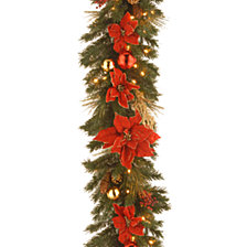 "National Tree Company 9' x 12"" Decorative Collection Home Spun Garland with 100 Clear Lights"