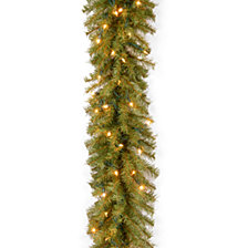 "National Tree Company 9' x 12"" Norwood Fir Garland with 100 Clear Lights"