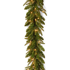"National Tree Company 9' x 10"" ""Feel-Real"" Fraser Grande Garland with 100 Clear Lights"