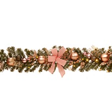 "72"" Decorated Pine Garland with Bow, Gold Ornaments, Berries & LED"