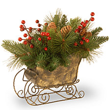 "National Tree Company 10"" Decorative Collection Sleigh with 8 Cones & 3 Red Berries"