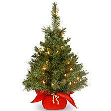 "24"" Majestic Fir Tree with 35 Clear Lights and Red Cloth Bag"