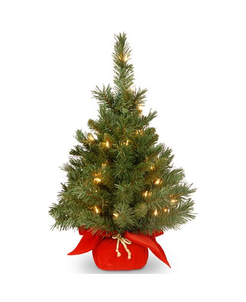 "National Tree Company 24"" Majestic Fir Tree with 35 Clear Lights and Red Cloth Bag"