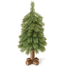 "National Tree Company 18"" ""Feel-Real"" Bayberry Spruce Tree in Cross Faux Wood Base"