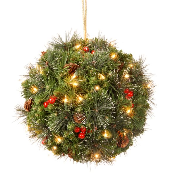 """National Tree Company 12"""" Crestwood Spruce Kissing Ball with Silver Bristle, Cones, Red Berries & Glitter with 35 Warm White Battery Operated LEDs"""