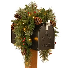 "36"" Feel Real(R) Colonial Mail Box Swag with 8 Pine Cones, 8 Red Berries and 15 Warm White Battery Operated LED Lights w/Timer"