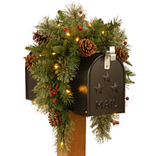 "National Tree Company 36"" Feel Real(R) Colonial Mail Box Swag with 8 Pine Cones, 8 Red Berries and 15 Warm White Battery Operated LED Lights w/Timer"