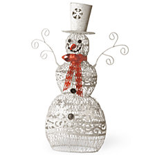 "National Tree Company 24"" Metal Snowman with White Glitter"