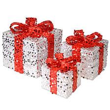 National Tree 3-Piece Sequin Gift Box Assortment
