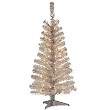 National Tree 4 ft. Silver Tinsel Tree with Clear Lights