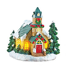 "National Tree Company 7.5"" Christmas House with LED Battery Operated Lights"