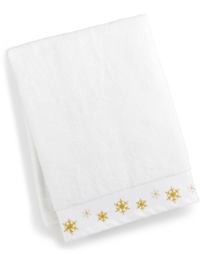 Image of Martha Stewart Collection Snowflake Cotton Embroidered Bath Towel, Created for Macy's Bedding