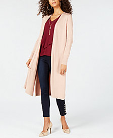 Thalia Sodi Gauge-Trim Duster Cardigan, Ruffled Ladder Top & Pull-On Jeggings, Created for Macy's