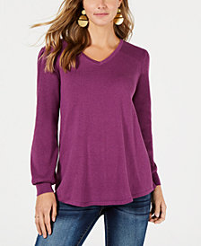 Style & Co Petite V-Neck Blouson Sweater, Created for Macy's