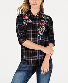 Style & Co Petite Embroidered Plaid Button-Front Shirt, Created for Macy's