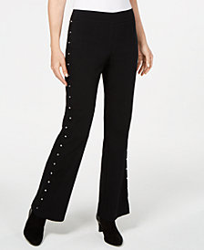 JM Collection Petite Stud-Trimmed Flare-Leg Pants, Created for Macy's