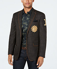 Tallia Men's Limited Edition Slim-Fit Stretch Brown Neat Textured Sport Coat with Patches
