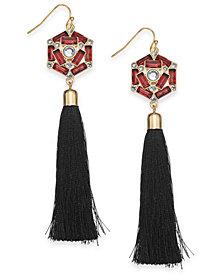 Thalia Sodi Gold-Tone Stone & Crystal Tassel Drop Earrings, Created for Macy's