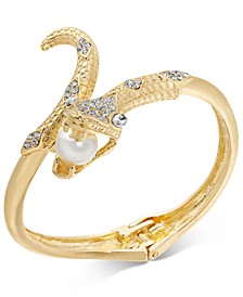 Gold-Tone Crystal & Imitation Pearl Snake Bangle Bracelet, Created for Macy's