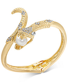 Thalia Sodi Gold-Tone Crystal & Imitation Pearl Snake Bangle Bracelet, Created for Macy's
