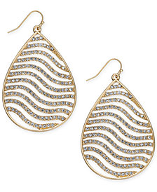 Thalia Sodi Gold-Tone Crystal Tiger Stripe Teardrop Drop Earrings, Created for Macy's