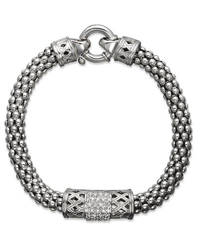 Diamond Barrel Bracelet in Sterling Silver (1/4 ct. t.w.)