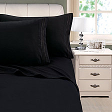 3-Line Stripe Embroidery 4-Pc. King Sheet Set