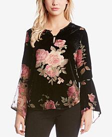 Karen Kane Floral-Print Velvet Burnout Top