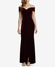Xscape Off-The-Shoulder Velvet Gown