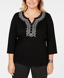 Karen Scott Plus Size Embellished Split-Neck Top, Created for Macy's