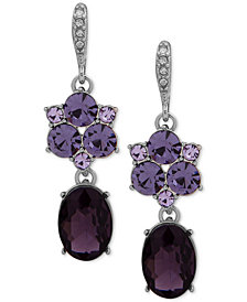 Givenchy Silver-Tone Stone & Crystal Drop Earrings