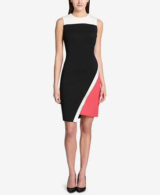 Colorblocked Asymmetrical Scuba Dress by Tommy Hilfiger