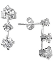 Giani Bernini Cubic Zirconia Three Stone Ear Climbers in Sterling Silver, Created for Macy's