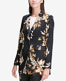 Calvin Klein Petite Floral-Print Two-Button Blazer