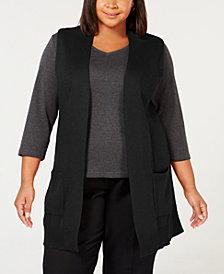 Karen Scott Plus Size Duster Sweater Vest, Created for Macy's