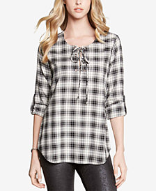 Karen Kane Plaid Lace-Up Shirt