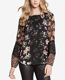 Karen Kane Printed Contrast-Lace Panel Top